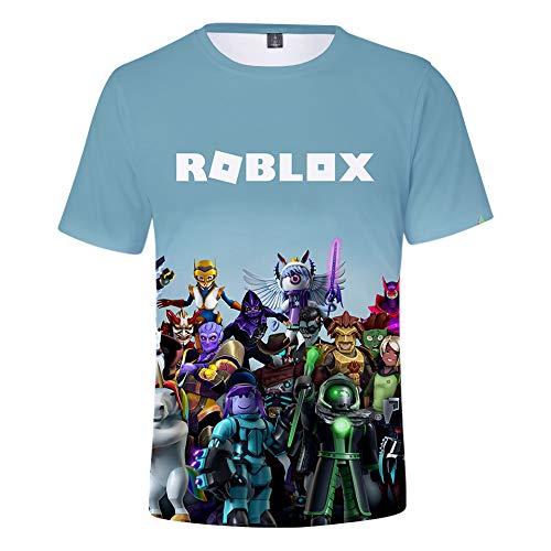 WQWQ Camiseta de Hombre Roblox, Manga Corta con Estampado de Moda en 3D, Camisa Delgada de Juego Sandbox 100% poliéster XL XXL