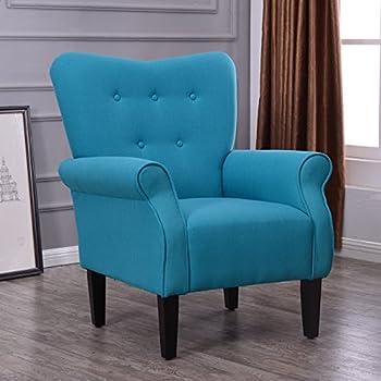 This Item Belleze Living Room Armchair Linen Armrest Modern Accent Chair High Back Wingback Mallard Teal