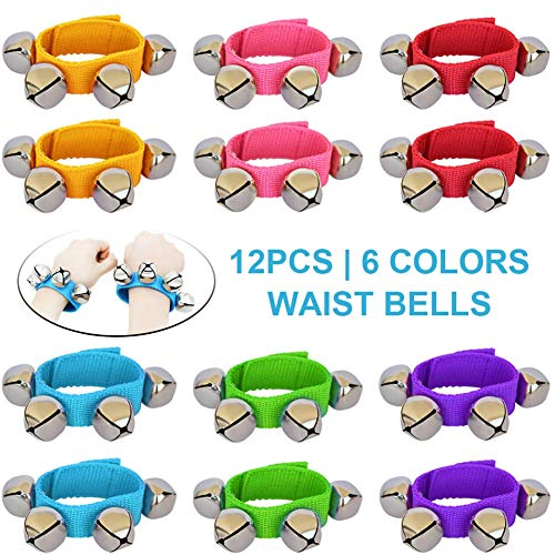 ZISUEX 12PCS Band Wrist Bells Jingle Bells Instrument Percussion Musical Orchestra Rattles Party Favors Toys Wrist Bells and Ankle Bells KTV Birthday Gifts