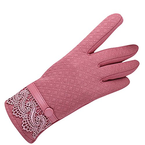 Womens Cotton Warm Touchscreen Wrist Length Knit Winter Gloves Leather Bowknot Mintters (Pink-2) (Wrist Gloves Fingerless Length)