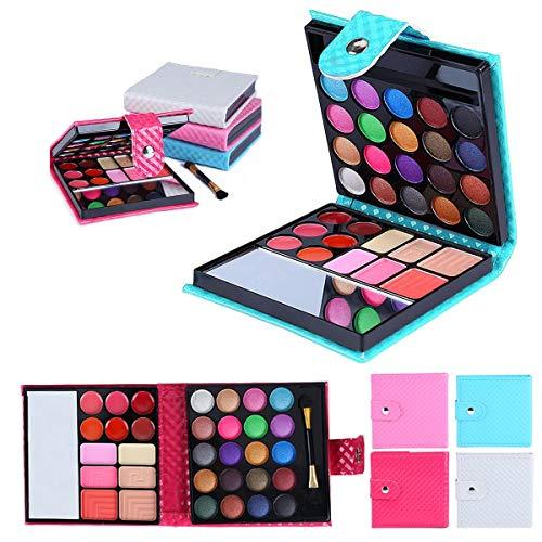 (32 Colors Shimmer Eye Shadow Blusher Lip Cosmetic Concealer Palette Kit (Color : Blue))