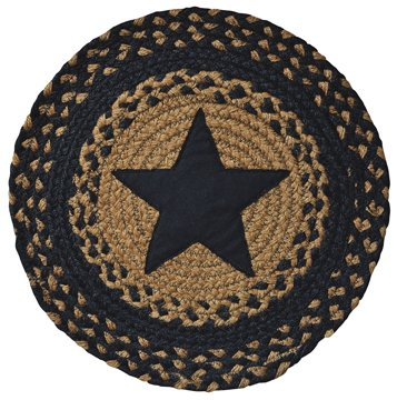 Appliquéd Star Braided Round Table Mat Black Tan Country Primitive Décor