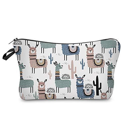 Cosmetic Bag for Women,Loomiloo Adorable Roomy Makeup Bags Travel Waterproof Toiletry Bag Accessories Organizer Liama…
