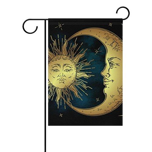 BGOJM Sun And Moon Decorative Double Sided Garden Flag 12x18 inch -