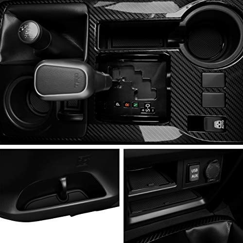 Custom Fit Cup, Door, Console Liner Accessories Kit for Toyota 4Runner 2019 2018 2017 2016 2010 to 2015 27PC Set (2 Row, Solid Black)