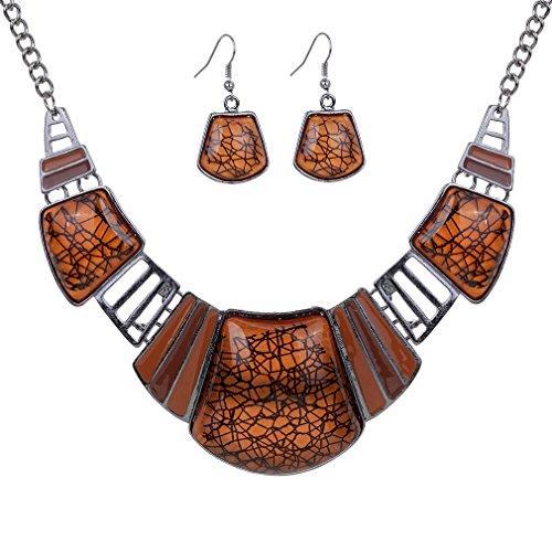 YAZILIND Vintage Ethnic Brown Bib Collar Earrings Necklace Jewelry Set Women