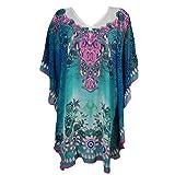 Mogul Women's Kaftan Loose Short Beach Dress Swimsuit Cover Up Caftan (Blue-1)