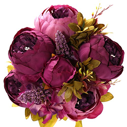 Artificial Peony Flower Bouquet for Wedding Purple - 6