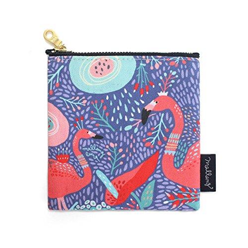MallangLuna Handmade Cotton Canvas Zipper Mini Pouch (The Dream of Flamingo)