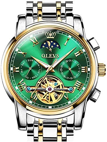 OLEVS Mens Watch Automatic Mechanical Tourbillon Slef-Wind Luxury Stainless Steel Waterproof Luminous Date Wrist Watch WeeklyReviewer