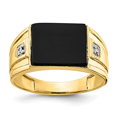 14k Yellow Gold Mens Black Onyx Diamond Band Ring Size 10.00 Man Fine Jewelry Gift For Dad Mens For Him ()