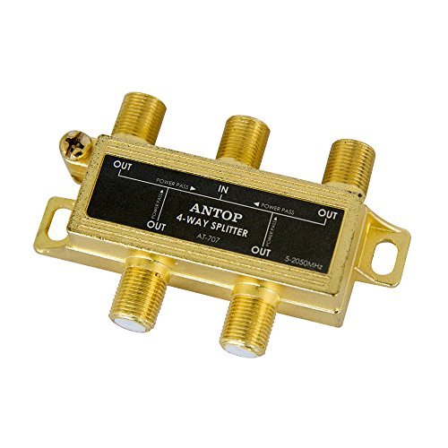 ANTOP Low-loss 4 Way Coaxial Splitter for TV Antenna and Satellite 18K Gold-plated chassis 2GHz - 5-2050MHz All Port DC Power Passing