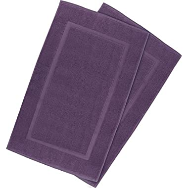 Utopia Towels 21-Inch-by-34-Inch Luxury Hotel-Spa Tub-Shower Bath Mat Floor Mat , 2 Pack, 100 Percent Ringspun Cotton, Luxury Size, Maximum Absorbency, Machine Washable, Plum