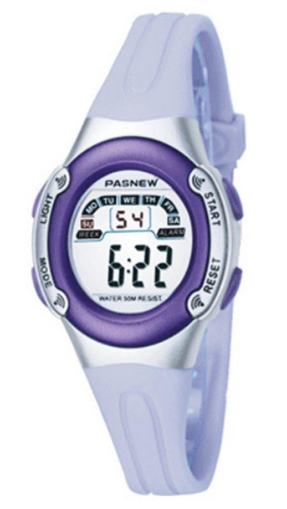 WUTONYU(TM) Student Multifunctional Sport Military Digital Watches Children Boys Girls LED Alarm Kids Wrist Watch (Purple)
