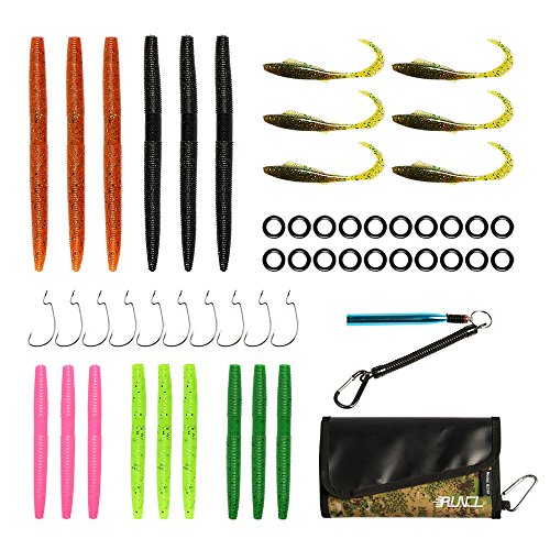 RUNCL Soft Fishing Lure Set, Wacky Worm Kits with Waterproof Bait Bag Organizer, Wacky Rig Tool, Rubber Worms and Curly Tail Lures for Saltwater and Freshwater Trout Bass Salmon (Pack of 53)