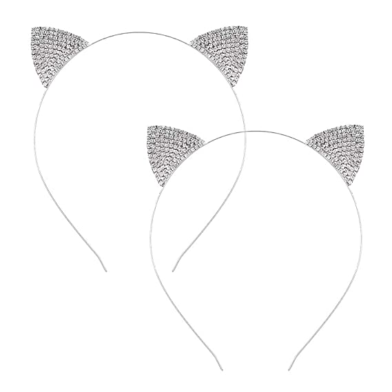 Headwear Ornament Crystal Rhinestone Cat Ears Headband Hairband Hair Hoop