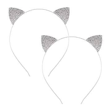 Amazon.com: Diadema de orejas de gato con diamantes de ...