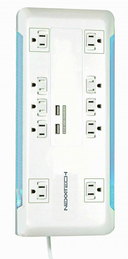 Nexxtech 10-Outlet Power Bar with Surge Protection & Dual USB