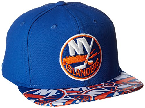 fan products of NHL New York Islanders Men's SP17 All Over Print Flat Brim Snapback Hat, Blue, One Size