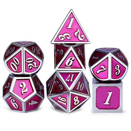 Soild D&D Metal Dice Set, Rose Pink and Silver Frame Metal Dice with Metal Box for Role Playing Game Dungeons and Dragons RPG and Pathfinder