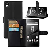 Fettion Sony Xperia Z5 Premium Case, Premium Leather Wallet Case Cover with Stand Card Holder for Sony Xperia Z5 Premium Phone (2015) (Wallet - Black)