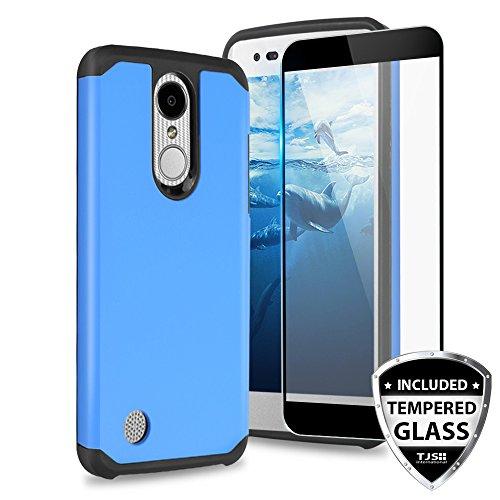 TJS LG Aristo 2/Aristo 3/Aristo 2 Plus/Tribute Dynasty/Tribute Empire/Rebel 3 LTE/Fortune 2/Rebel 4/Phoenix 4 Phone Case, [Full Coverage Tempered Glass Screen Protector] Hybrid Hard Armor (Blue)
