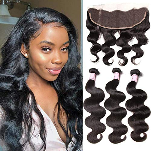 Beauty Forever Hair 8A Malaysian Body Wave 3 Bundles with 13×4 Ear to Ear Lace Frontal Closure, 100% Human Hair Extensions Hair Weave Weft, Natural Color, 16 18 20+14 Lace Frontal