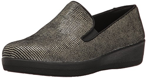 FitFlop Women's Superskate Lizard-Print Suede Loafer Flat, Black, 7.5 M US Suede Loafers Shoes