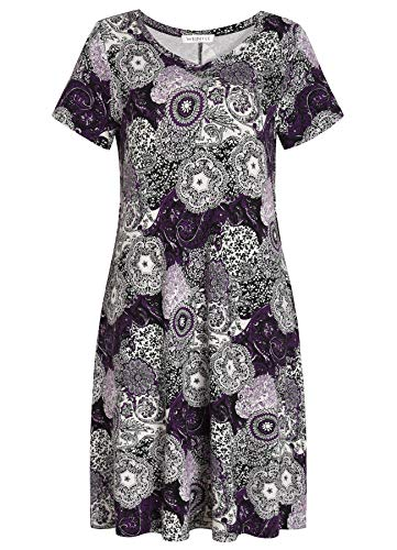 Weintee Women's T-Shirt Dress V-Neck Casual Dress with Pockets M Purple Paisley