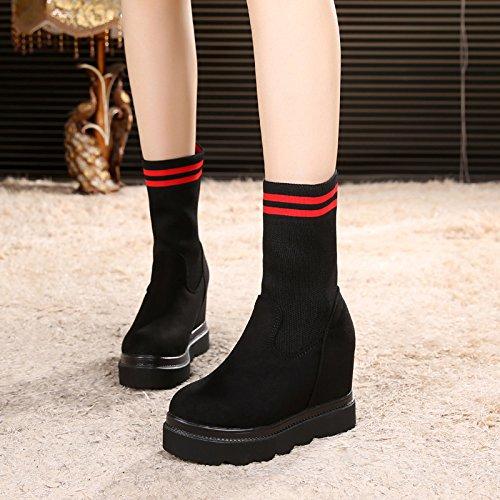 Une Nouvelle Chaussures Talons Coréen Femme black Chaussettes Chaussures Bottes Martin Haut À KHSKX Épaisses Dans L'Hiver Bottes Fond Bottes Correspond x1wXqnIR4