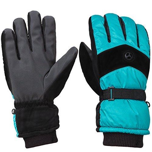 WILD SNOW Men\'s Waterproof Ski Gloves Winter Fashion Windproof Warm Gloves for Snowboarding Working Size XL (Green)