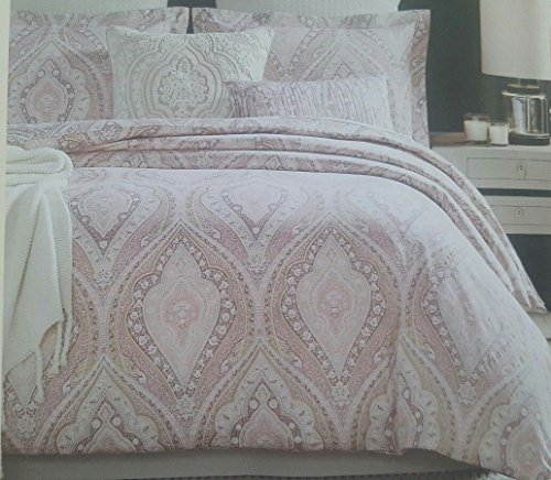 Cynthia Rowley Bohemian Duvet Cover Luxury Boho Style Vibrant Paisley Medallion Print King Size 3 Piece Bedding Set Sateen Cotton Pink Gold 300 thread count by Cynthia Rowley