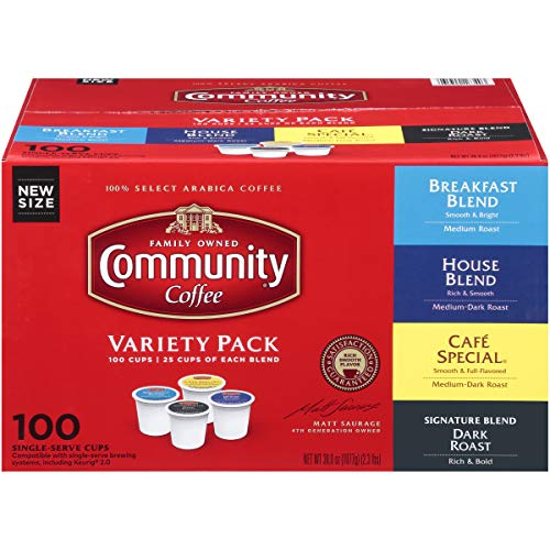 Community Coffee Variety Pack Medium to Dark Roast Single Serve 100 Ct Box, Compatible with Keurig 2.0 K Cup Brewers, Rich Smooth Flavor, 100% Arabica Coffee Beans