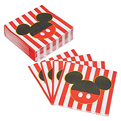 Mickey Mouse Party Supplies Tableware Bundle Pack for 16 Clubhouse Guests - Includes 16 Dinner Plates, 16 Dessert Plates, 16 Dinner Napkins, and 1 Tablecover: Toys & Games