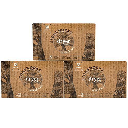 Grab Green Stoneworks Dryer Sheets, Naturally-Derived & Compostable, Free of Wax & Animal-Derived Ingredients, Oak Tree, 50 Sheets, 3-Pack ()