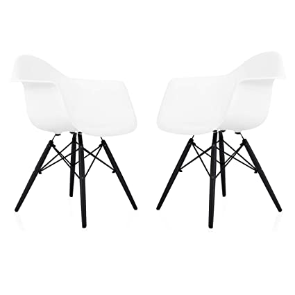 CozyBlock Set Of 2 Eames Style DAW Scandinavian White Molded Plastic Dining  Arm Chair With Black