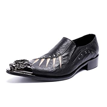 Hombres Oxford Zapatos Negro Cuero Puntiagudo Metálico Punta Ponerse Mocasines para Negocios Noche Vestir Fiesta: Amazon.es: Deportes y aire libre