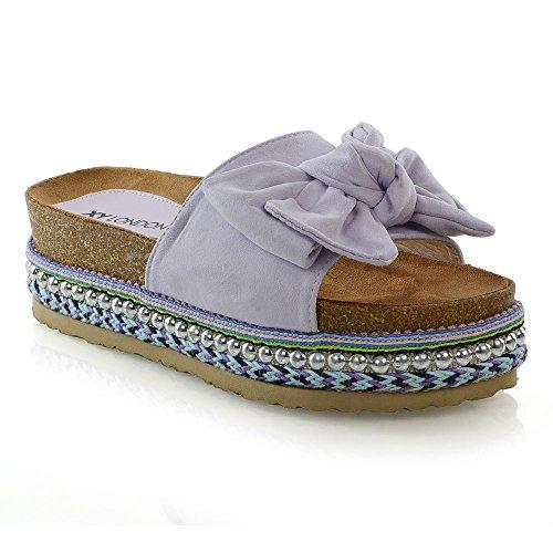 ESSEX GLAM Womens Bow Flatform Sandals Peep Toe Ladies Pearl Stud Wedges Shoes Platform Lilac