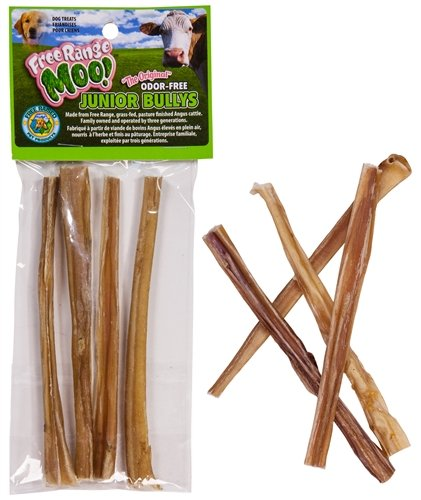 Moo Bully Sticks (Eco Naturals Free Range Odor Free 6 Inch Junior Bully Sticks - by Angus MOO!)