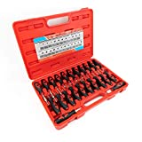 Delray Auto Parts 23 Piece Universal Electrical Terminal Release Tool Set - Plastic Connector Housing Plugs Remover - Easy Crimp Pin Removal Set with Application Chart