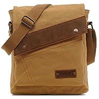 Aibag Messenger Bag, bolso de bandolera con bandolera pequeña de lona vintage (color caqui)