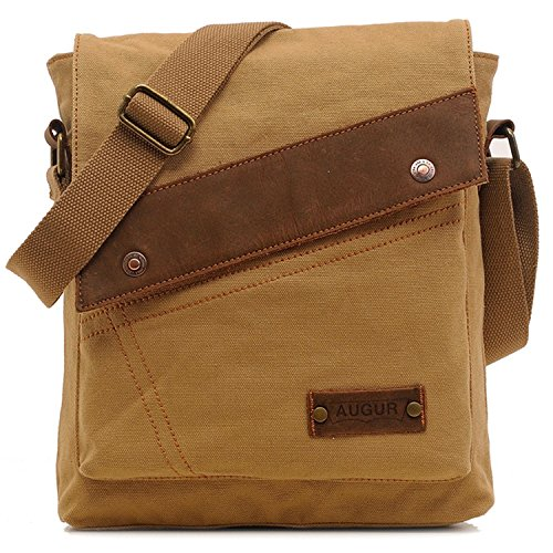Aibag Messenger Bag, Vintage Small Canvas Shoulder Crossbody Purse (Khaki)