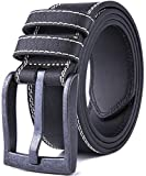 Men's Classic Stitched Leather Uniform Belt for Jeans, Regular Big & Tall Sizes (Black, 36/38)