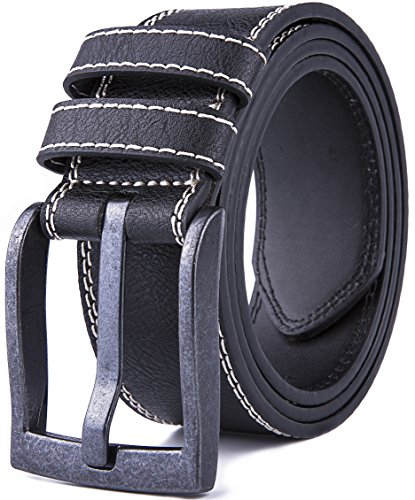 - Men's Leather Jeans Belt (Black, 32/34)