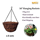 MTB Garden Hanging Baskets 14''-Heart Style with Coco-liner, Pack of 2 (Also Sold as Pack of 10)