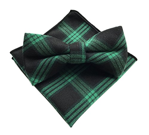 Elfeves Men's Green Black Bow Ties with Hanky Party Tuxedo Penguin Suit NeckWear