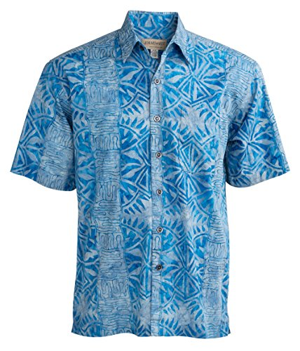 Johari West Geometric Forest Tropical Hawaiian Batik Shirt by (XX-Large, Lake)