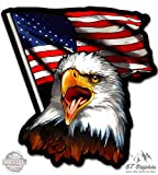 American Eagle Patriotic Flag - 20'' - Large Size Vinyl Sticker - for Truck Car Cornhole Board
