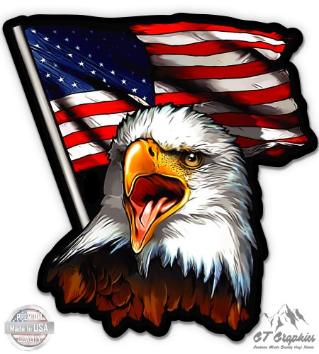 American Eagle Patriotic Flag - 20'' - Large Size Vinyl Sticker - for Truck Car Cornhole Board by GT Graphics (Image #2)