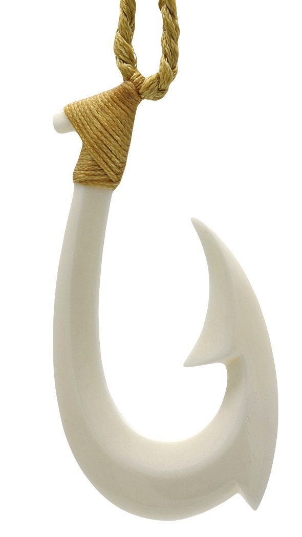 Earthbound Pacific Hand Carved Extra Large Solid Bone Fish Hook Necklace (Natural Cord)
